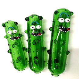 Wholesale Cucumber Cartoon - 2018 HOT!!5 Inch Glass bong smoking bong water pipe Cucumber cartoon shape glass pipes wholesale free shipping