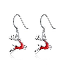 Wholesale brass processing - Christmas Deer Earrings Wholesale Cute Mini Color creative explosion models eardrops with Silver Plated enamel process 2017 new hot selling