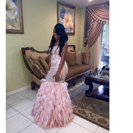 mermaid feather pageant gown Coupons - Charming Pink Mermaid Prom Dresses 2017 Luxury Feathers African Dresses Evening Wear Long Floor Length Girls Pageant Gowns Custom Made