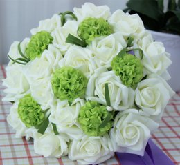 Wholesale Bridal Throw - Romantic Ivory+Green PE Handmade Wedding Bouquet Bridal Throw Bouquet artificial flowers
