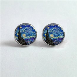 Wholesale Night Earrings - 2017 New Van Gogh Painting Stud Earrings The Starry Night Ear Studs Van Gogh Sunflowers Round Jewelry Glass Dome Earrings