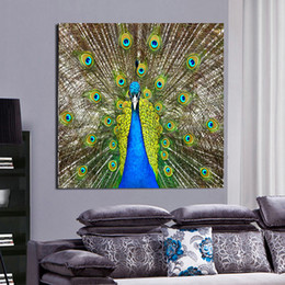 Wholesale Art Decor Peacock - Green Peacock Canvas Painting Home Decor Canvas Wall Art Picture Digital Art Print for Living Room
