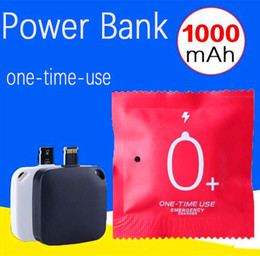 Wholesale Battery Direct - Disposable Mini 1000mA One Time Use Charger Wireless External Portable Battery Power Bank Emergency Charging for IOS Samsung Android Phone