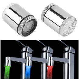 Wholesale glow temperature - Wholesale- 2017 new 3 Color LED Light Change Faucet Shower Water Tap Temperature Sensor No Battery Water Faucet Glow Shower Left Screw