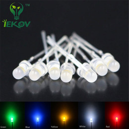 Wholesale Led 3mm Diffused - Wholesale- IEKOV 500pcs Led 3MM Diffused LEDS 100each white red blue green yellow Round Top Urtal Bright Led Bulb Light Lamp