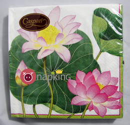 Wholesale Papers Napkin Serviettes - Wholesale- 2 x Decoupage paper napkins-Caspari 33x33cm 3-ply lotus napkins Lilis pond elegant paper napkins serviettes lunch napkin