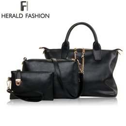 Wholesale Office Shoulder Bag - Wholesale-3 Pcs Set Vintage Handbags Women Messenger Bags Female Purse Solid Shoulder Bags Office Lady Casual Tote 2015 New Top-Handle Bag
