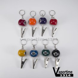 Wholesale Wholesale Keychain Rings Clips - Billiard Ball Smoking Pipe Portable Keychain Crocodile Clip Zinc Snooker Table Ball Key Ring Pendant Holder Mixed Color Number Mini 138