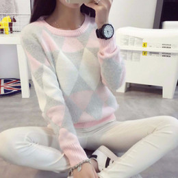 Wholesale Cute Crochet Sweaters - Wholesale-2016 Female Pullovers Winter Sweater Fashion Women Spring Autumn Pullover Long Sleeve Plaid Cute Casual Ladies Sweaters