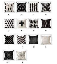 Wholesale Simple Linen Cushion Cover - 45cm 18 Inch Simple Geometric Cotton Linen Pillow Case Sofa Car Throw pillow Cushion Cover Ideal decoration JF008
