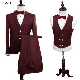 Wholesale Red Plaid Tuxedo Jacket - Wholesale- Custom Brand Fashion Wine Red Suits Men Plaid Style Slim Fit Male Suits Jacket Blazers Wedding Groom Prom Tuxedo Formal 3 Piece