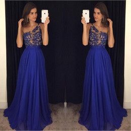 Wholesale One Shoulder Special Occasion Gown - 2017 Royal Blue Prom Dresses One Shoulder Chiffon Illusion Long Custom Made Special Occasion Party Gowns For Girls Robe De Soiree