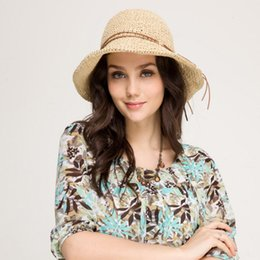 Wholesale Fold Beach Hats - Straw hat summer hat Beach Holiday Beach folding big sun hat