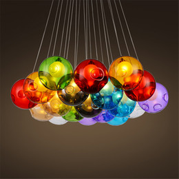 Wholesale Colorful Ceiling Lights - Colorful Glass Ball Pendant Lamp G4 96-265V Ceiling Light Meteoric Shower Stair Bar Droplight Chandelier Lighting Dining Room Living Room