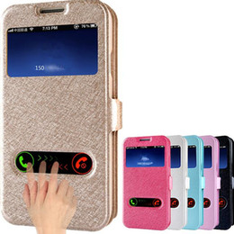 Wholesale S4 Flip Covers - Luxury card slot phone case for galaxy note 2 3 s4 s5 silk pattern PU leather 2 window Protective cover flip holder defender case DHL GSZ323