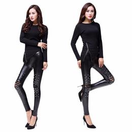Wholesale Leggings Rivets - New Arrival Sexy Women Leggings Pants Black Faux Leather Leggings Hot Sale Rivet Lace Patchwork Low Waist Leggings WT31163