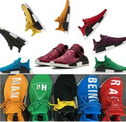 Wholesale Green Bottoms - BB0619 Yellow 2016 Pharrell Williams X NMD HUMAN RACE Shoes Top Quality REAL BOOST Bottom With Nipples mix 7 colors Men Running Shoes