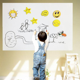 Wholesale Marker Stickers - 45*200CM PVC Whiteboard Wall Stickers Vinyl Removable DIY White Board Sticker for Kids With Marker Pen With Retail Package CCA7255 50pcs