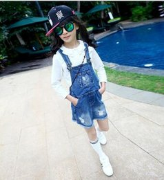 Wholesale Denim Braces - In the summer of 2017 with the new hole cowboy braces skirt of the girls
