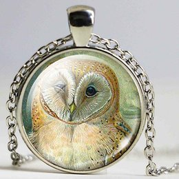 Wholesale Childrens Necklace Chain - Owl Glass Dome Pendant necklace Owl Jewelry Nature necklace Owl Pendant Childrens Love Gift