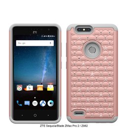 Wholesale Iphone Case Bling Starry - For ZTE Sequoia  Blade ZMax Pro 2 Metropcs Z982 For iPhone 8 Armor case bling diamond Starry Rubber PC + Silicone rhinestone cover D