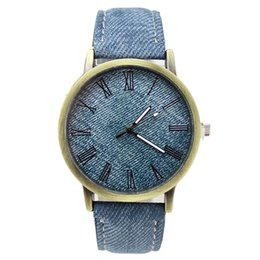 Wholesale Blue H4 - Wholesale- Simulation cowboy cloth Relojes Quartz women Men Watches canvas Color Leather Strap Wristwatch clocks Relogio Masculino H4