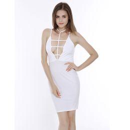 Wholesale Tight Halter Black Dresses - Black White Cross Sling Halter Tight Ladie Dress Bandage Sexy Party Evening Elegant Clothing Dashiki Dresses