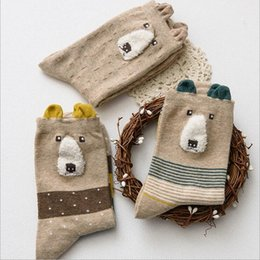 Wholesale Wholesale Bear Nose - Wholesale- 1 Pair 2016 New Autumn And Winter Socks Big Nose Ms. Bear Cartoon Tube Socks Japanese Socks Lowest Price Free Shipping