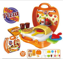 Wholesale Pizza Plastic - 7 Style Super Fun Kids Carry Pizza Making Playset Simulation Pizza Combination Tool Box (21 pcs) YH525