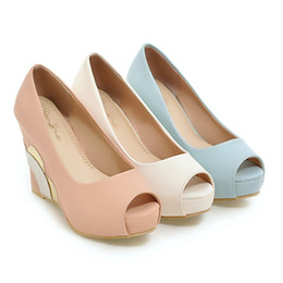 Wholesale Pink Peep Toes Wedges - Roman Shoes Leather Fish Mouth Bohemian Sandals Nude Color Wedges High Heels Sandals Small Plus Size 34-43