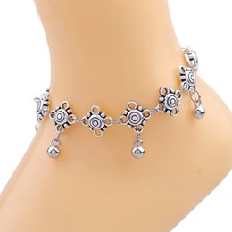 Wholesale Silver Anklets Women Barefoot Sandals - Tibetan Silver Tone Anklets For Women Indian Traditional Bell Pendants Ankle Bracelet Lovely Barefoot Sandals Foot Jewelry Adjustable