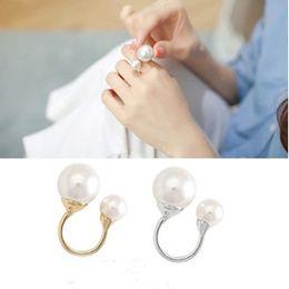 Wholesale open metal ring - Korea Style Adjustable Rings Elegant Lady Gold Silver Copper Metal Double Pearl Finger Open Rings Jewelry U Shape Double Pearl Rings Jewelry