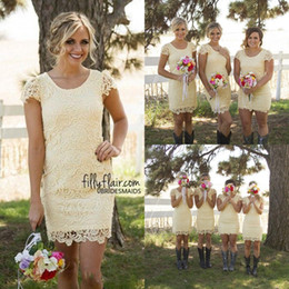 Wholesale Short Pale Blue Bridesmaid Dresses - 2017 Pale Yellow Sheer Crew Neck Short Bridesmaid Dresses Full Lace Cap Little Sleeves Column Mini Country Style Summer Cocktail Dress