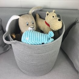 Wholesale Cotton Storage Basket - Cotton Rope Woven Storage Baskets with Handles Toy Bin Laundry Hamper Closet Organization Kid's room storage14.5''*13.7''*15.7''( Grey)
