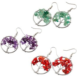 Wholesale Plants Supports - 5 Styles Tree of Life Dangle Earrings Chakra Jewelry Handmade Wire Wrapped Birthstone Earrings for Women Support FBA Drop Shipping B162S