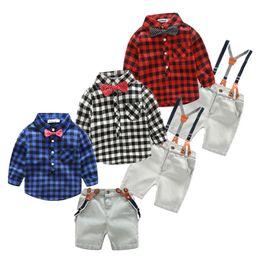 Wholesale Baby Boy Plaid Overalls - retail 2-8y boy 2017 New cotton spring children boys autumn spring 2pcs clothing set suit baby shirt+pants sets plaid overalls