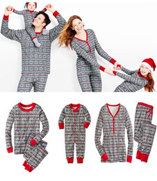Wholesale Kids Velour Suits - Christmas Clothes Set Women Men Kids Baby Pajamas Set Christmas Snowflake Long Sleeve Sleepwear Striped T-Shirt+Pants Two Piece Suit