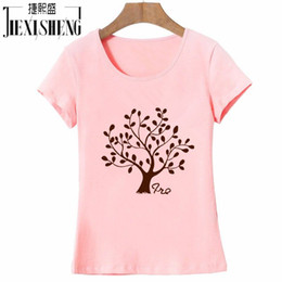 t-shirt en gros pour imprimé animal Promotion Vente en gros- 2016Hip Hop Coton Femmes T-shirts O Neck Tree Printed Femme T-shirt Short Sleeve Slim Fit Popular Girls Tees Tops Vêtements HH042