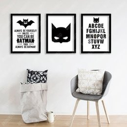 Wholesale Life Quotes Painting - 3pcs set Modern Nordic Batman Quotes Painting (No Frame) Canvas Giclee Wall Art picture for Living Room Home Office Decor(Size:5 sizes)