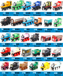 Wholesale Children Mini Train - Wooden mini train toy children wooden locomotive magnetic track cartoon toys wholesale free shipping