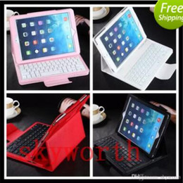 Wholesale Mini Leather Wireless Keyboard - For ipad air 2 pro 9.7 2017 Bluetooth Wireless Keyboard Leather Case Removable PU cover for mini 1 2 3 4 stand