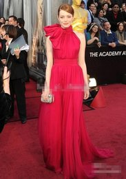 Wholesale Emma Stone - 2016 84th Oscar Awards Emma Stone Vintage A Line Red Carpet Prom Gown High Neck Red Chiffon Elegant Celebrity Pageant Evening Dresses Cheap