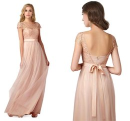 Wholesale Designer Style Long Sleeve Dresses - Fairy Style Bohemian Cap Sleeves Lace Top Bridesmaid Dresses Jewel Neck Pleats Tulle Skirts Prom Dresses A Line Evening Gowns For Weddings