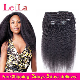 Wholesale Hair Extensions Clips Black - Peruvian Human Hair 7Pieces SET Kinky Straight Clip In Human Hair Extensions Natural Black Coarse Yaki Human Hair Weaves