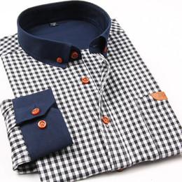 Wholesale Men Button Down Shirts Wholesale - Wholesale- 2016 Autumn New Fashion Men Plaid Casual Shirts Slim Fit Long Sleeve Cotton High Quality Collar Button-up Social Men Dress Shirt