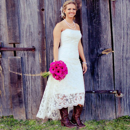 Wholesale Strapless Lace Sheath Wedding Dress - 2017 Fashionable High Low Style Country Beach Wedding Dresses Lace Strapless Garden Country Lace Wedding Bridal Gowns High Quality