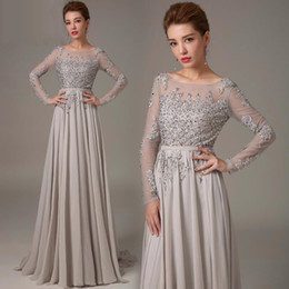 Wholesale Long White Chiffon Prom Dresses - 2017 New Appliques Prom Dresses Sweep Train Evening Dresses Sexy Backless Long Sleeves Party Prom Gowns