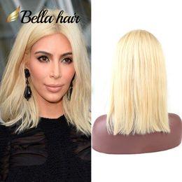 "Wholesale Human Wig Remy Peruvian - 613 Wig Human Hair Bob Wigs Full Lace Blonde Wigs Can Be Dyed Short Cut Bob Natural Straight 10""12"" Bella Hair"