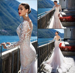 Wholesale Nova Tops - Vintage Milla Nova 2017 New Fashion Mermaid Wedding Dresses Illusion Top with Lace Appliques Court Train Long Sleeve Vestido De Novia