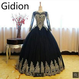 Wholesale Modest Long Prom Dresses - Robe De Soiree black gold lace ball gown long sleeve prom dresses modest puffy princess elegant muslim prom gowns hot sale